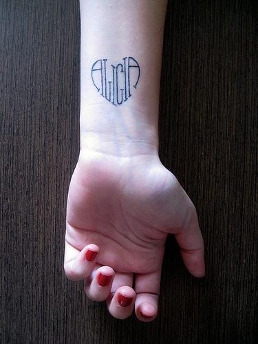 wrist name tattoo ideas. Black Bedroom Furniture Sets. Home Design Ideas