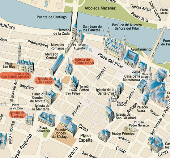 Mapa Turistico de Saragoca Centro